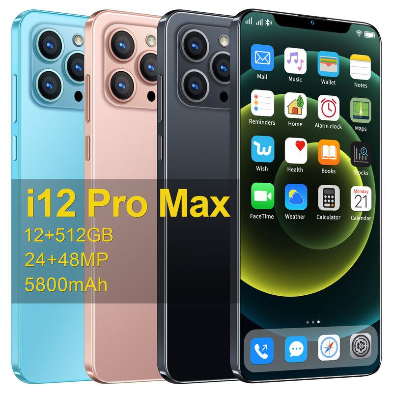 Smartphone I12 Pro Max 6.7 inch 12GB RAM 512GB ROM Deca Core Snapdragon888 5800mAh 48MP Android11 Global Version Mobile Phone