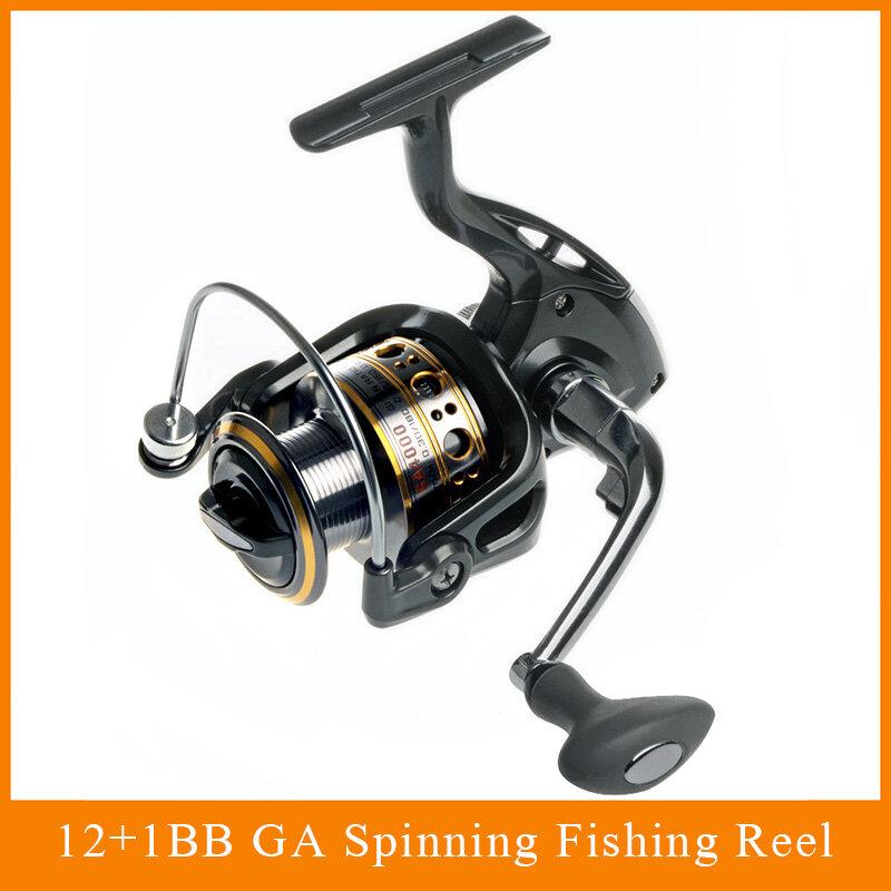 Fishing Spinning Reel 12 + 1ลูกแบริ่งปั่นรีลSuper Strong Fishing Reel 5.5:1เครื่องปั่นปลาคาร์พสำหรับตกปลา