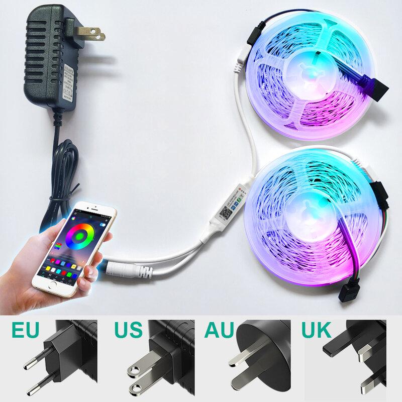 RiRi gewonnen SMD 5050 RGB LED Streifen Licht 2835 10M 5M Led-leuchten rgb Leds klebeband diode band flexible Bluetooth Steuer DC12V Adapter