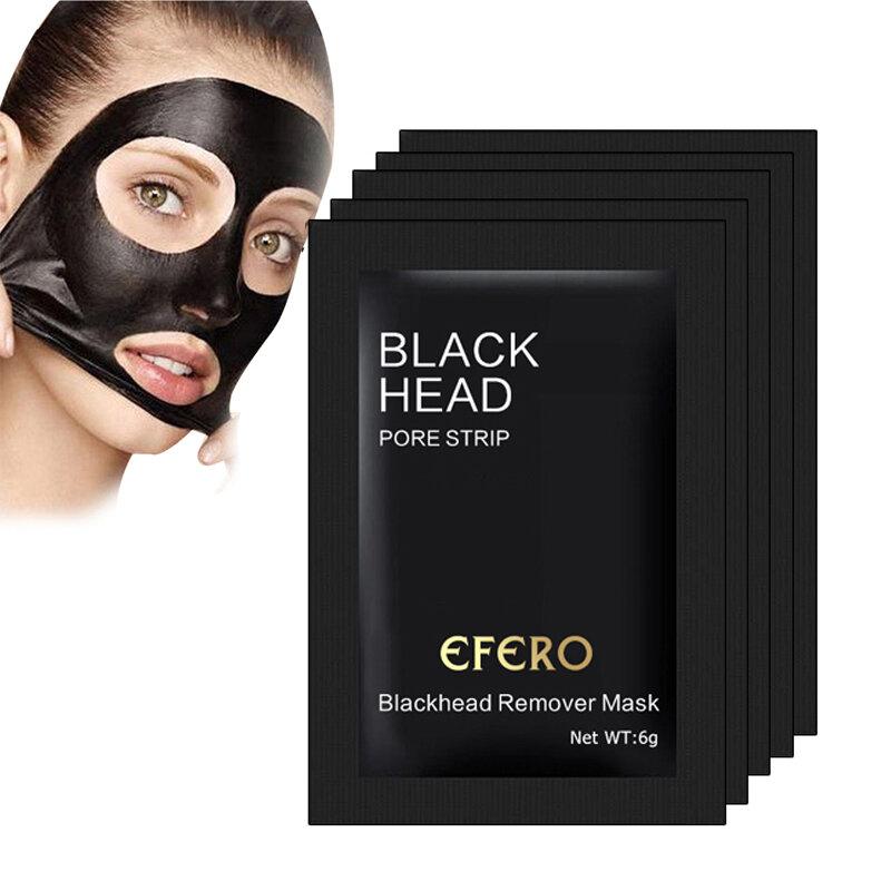 5 uds. Máscaras negras purificador de Limpieza Profunda, mascarilla de cabeza negra, elimina los poros y las espinillas, cuidado facial
