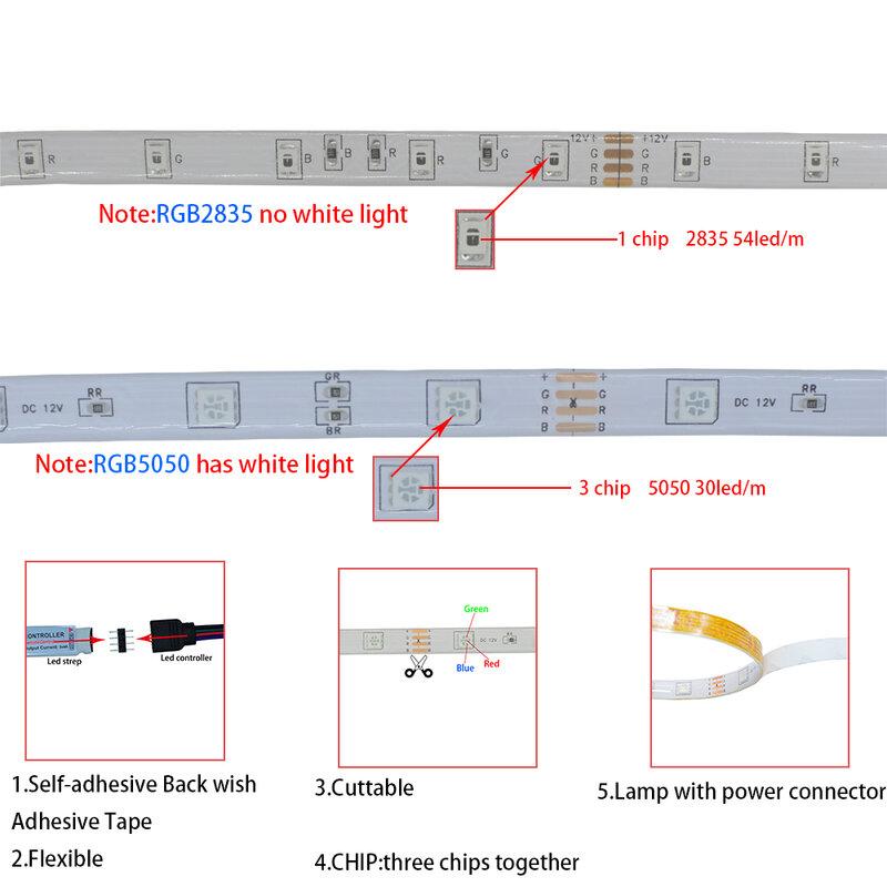 Tiras de Luces LED flexibles, resistentes al agua, RGB 5050, CC de 12V, Control por Bluetooth, Luces inteligentes para habitación, cocina, TV y jardín