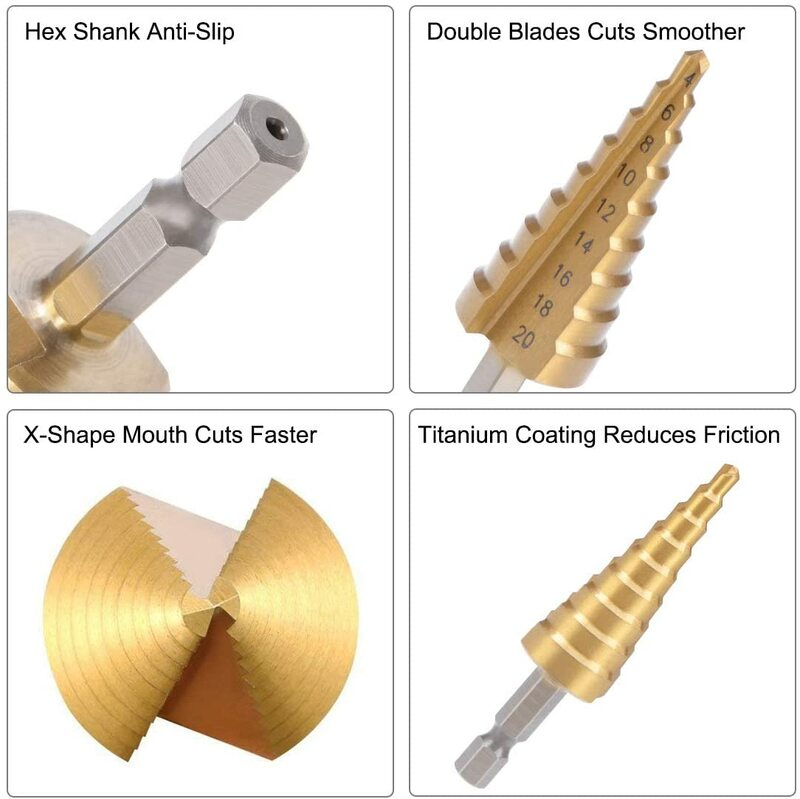 3 teile/satz 3-12mm 4-12mm 4-20mm HSS Gerade Nut Schritt Bohrer set Titan Beschichtet Holz Metall Loch Cutter Core Bohrer Set