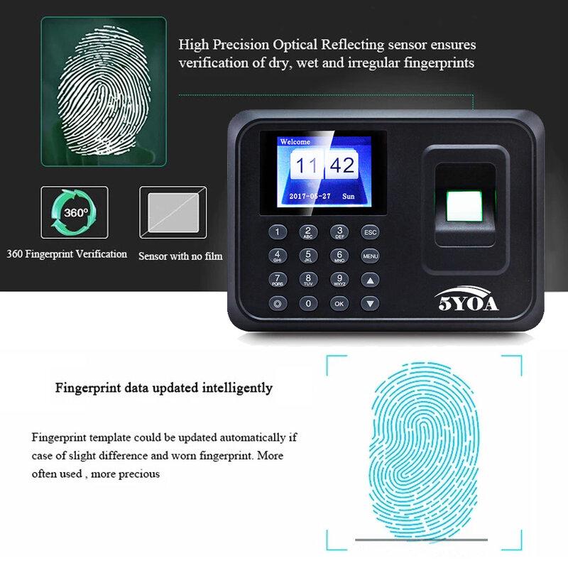 A01 Biometrico di Impronte Digitali Orologio Usb Ufficio Tempi Registratore Sistema di Presenza Dei Dipendenti Macchina Lettore di Spagnolo Spagna En