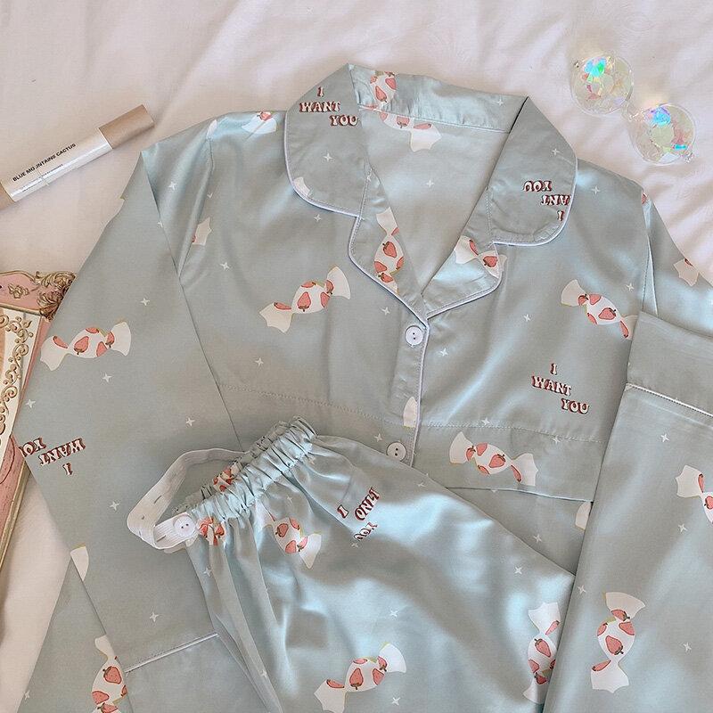Pijamas de seda de hielo de manga larga para mujeres embarazadas, ropa de estar en casa de enfermería posparto, color verde, primavera y otoño
