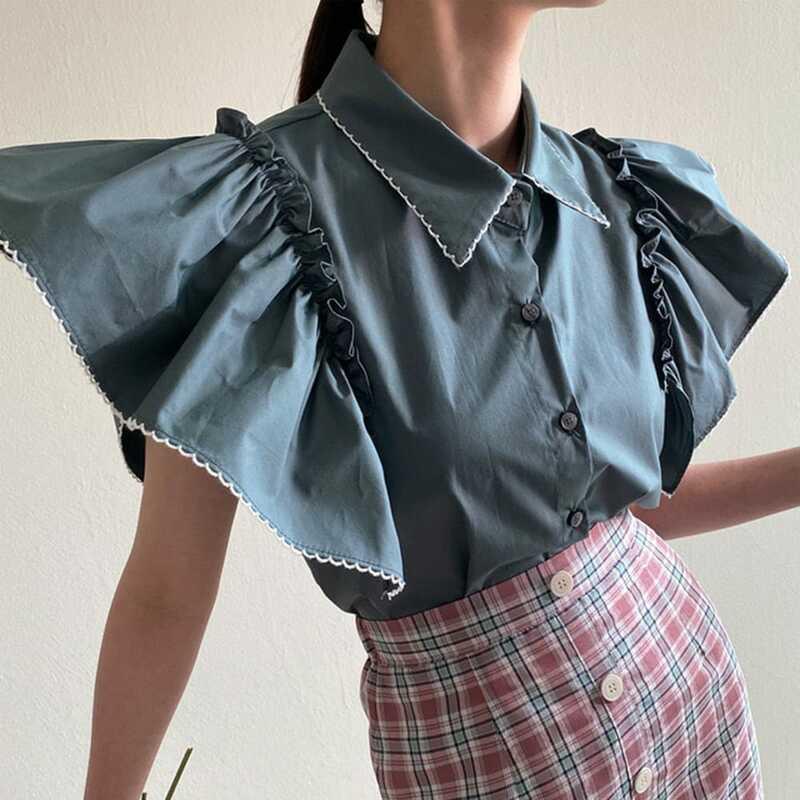 Blusa de estilo coreano para mujer, blusa de Color liso con mangas voladoras, sencilla e informal, a la moda, estilo japonés, novedad de verano 2021