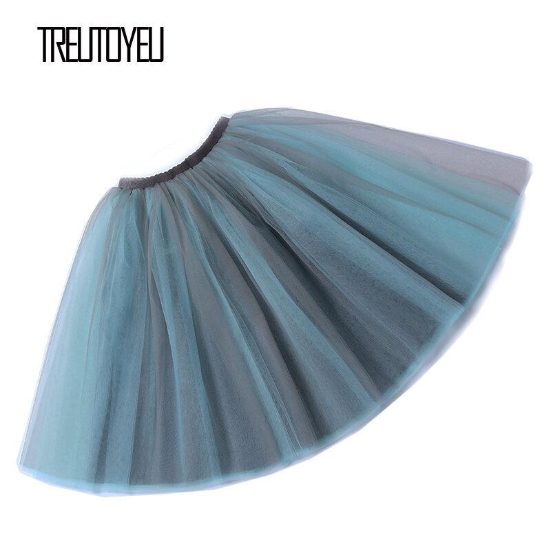 Treutoyeu VINTAGE MIDI Tutu Tulle กระโปรง 6 ชั้นสีเทา + ฟ้าเซ็กซี่ Punk จีบกระโปรงผู้หญิง Faldas Mujer moda 2020