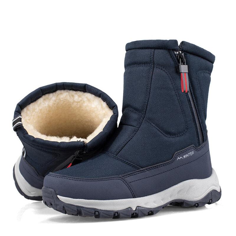 Bottes de neige en velours et coton avec fermeture éclair au côté, bottines courtes, décontractées, résistant au froid, épaisse, chaussure à chaud, accessoire pour homme, nouveau modèle, collection hiver, 2020