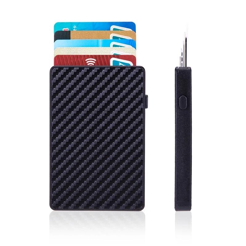 Rfid 차단 알루미늄 합금 카드 홀더, 슬림 휴대용 도난 방지 명함 케이스, 자동 팝업 터치 ID 카드 지갑