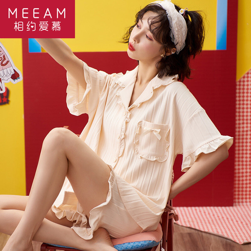 2021 New Pajamas Women's Thin Pure Cotton Short Sleeve Shorts Two-Piece Suit Spring and Summer Day Cute Loungewear