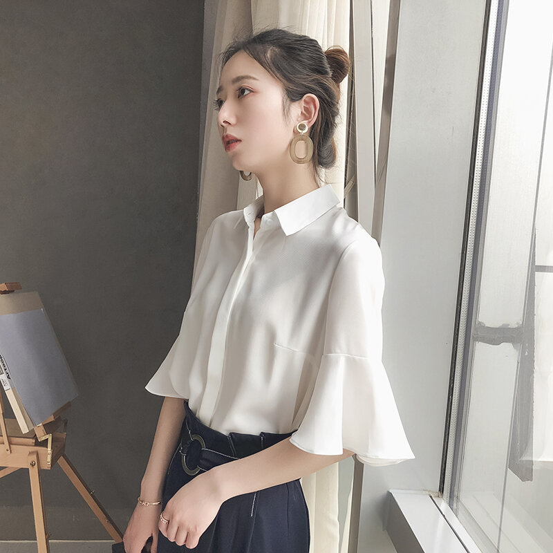 2021 Spring Chiffon Shirt Women's Young Korean Style Fashionable Stylish Half Sleeve Professional Ethereal All-Matching Bell