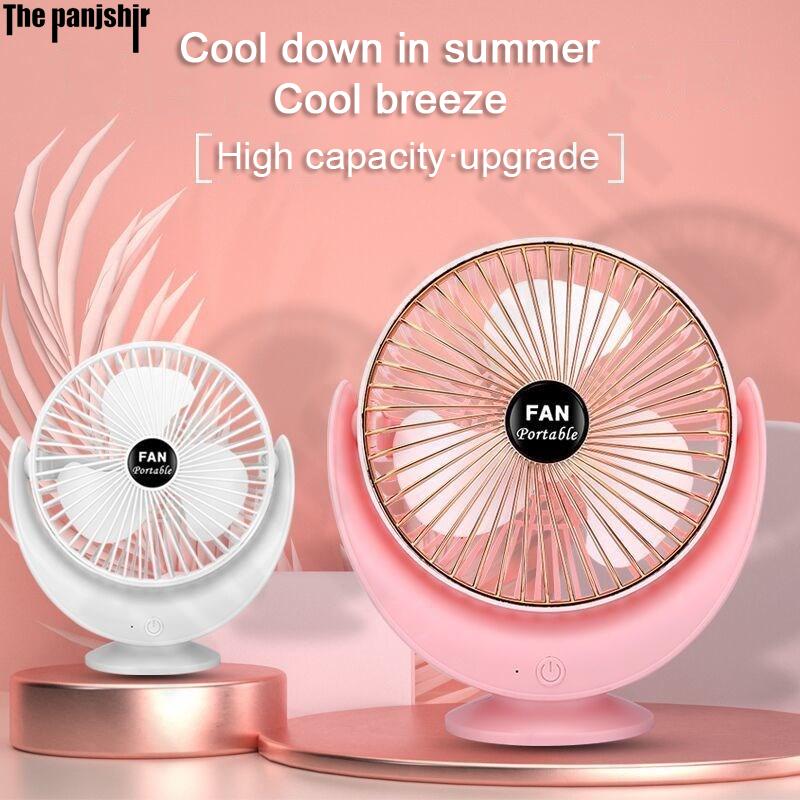 2021 neue 3-geschwindigkeit einstellbar crescent fan desktop büro schlafsaal Tragbare Mini USB lade fan