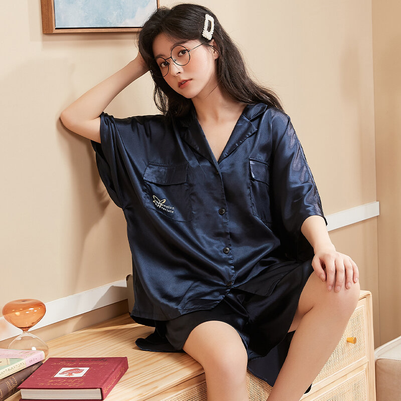 Ice Pajamas for Women Thin Short-Sleeved 2021 New Real Silk High-Grade Spring and Summer Home Wear Suit