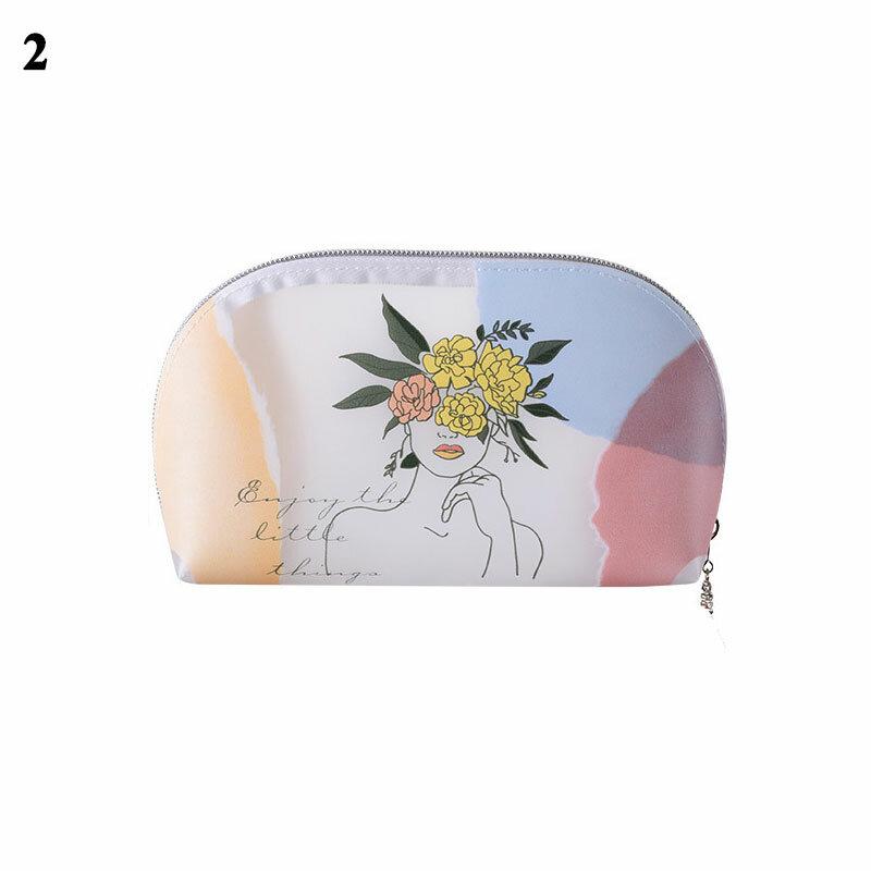 서리로 덥은 투명 화장품 가방 1PC PVC 귀여운 인쇄 패션 메이크업 가방 여성 Grils 여행 메이크업 주최 세면 용품 가방