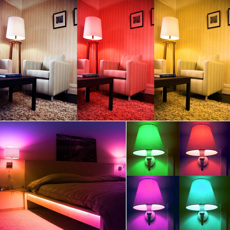 E14 LED 스마트 전구 촛불 색상 실내 네온 사인 전구 RGB 테이프 컨트롤러 조명 220V E12 디 밍이 가능한 램프 홈