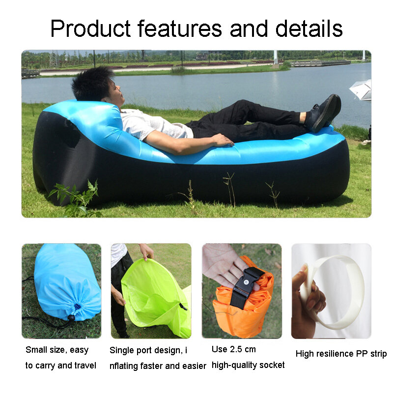 نفخ حمامات شمس في الهواء الطلق أريكة أريكة للتخييم ، والمشي مثالية نفخ الأريكة للمهرجانات الكمال نفخ كرسي الشاطئ