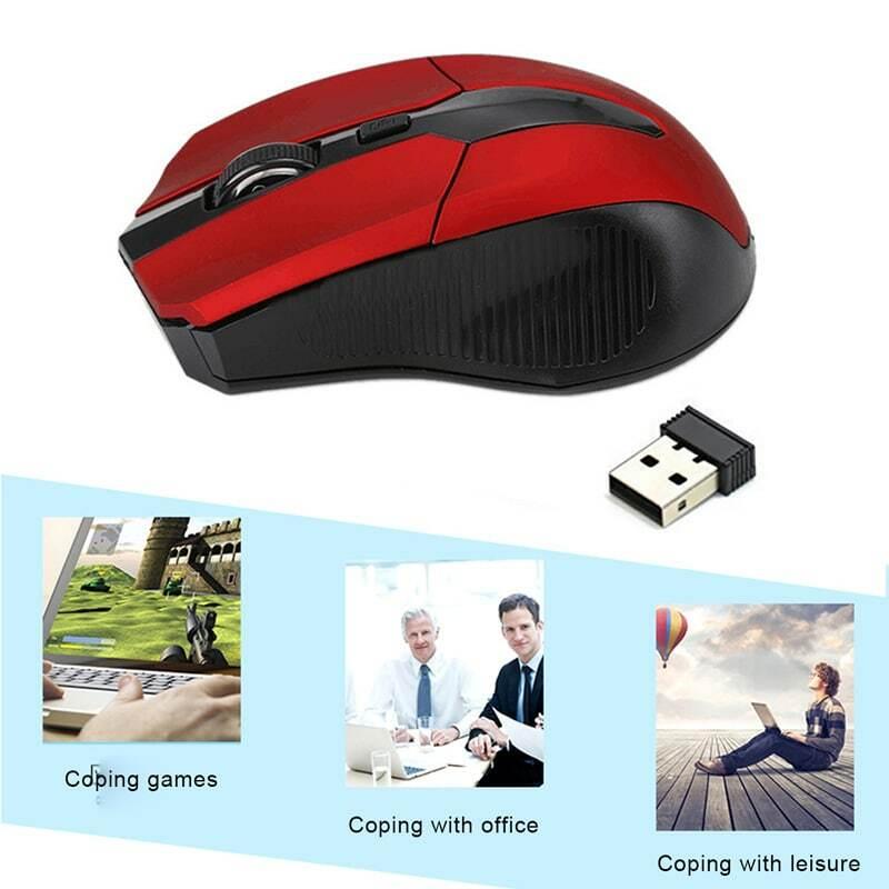 2.4G USB ماوس لاسلكي ضوئي أحمر 3 أزرار للكمبيوتر المحمول الألعاب الفئران مصممة هندسيا ماوس لاسلكي