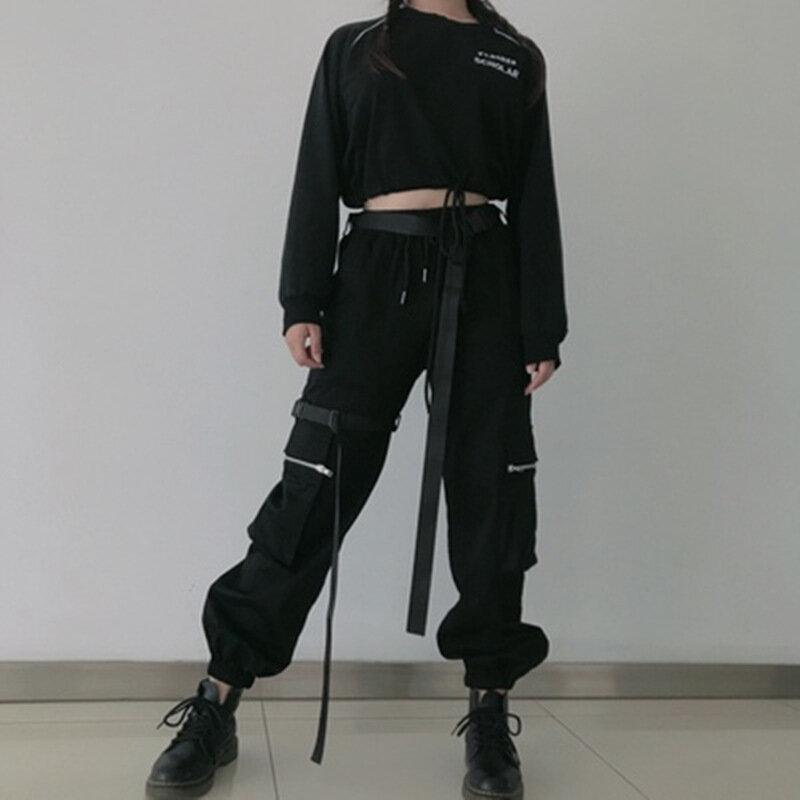 Pantalones Cargo Con Bolsillos Grandes Para Mujer Ropa Informal Suelta De Cintura Alta Pantalones Tacticos Holgados Joggers De Hip Hop Pantalones Y Capris