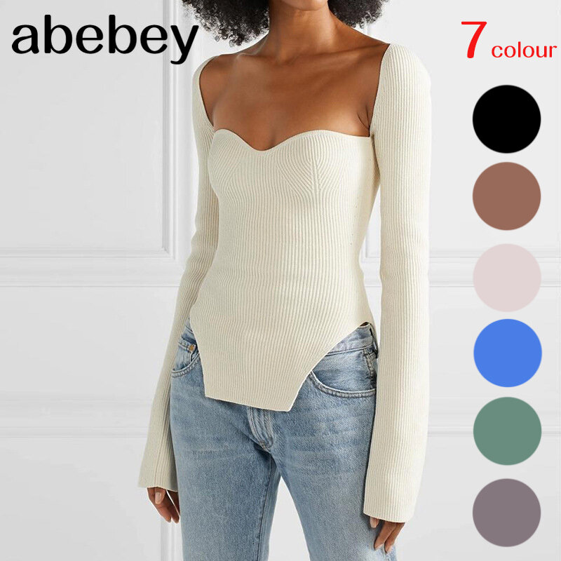 2021 new spring and summer fashion women clothes sqaure collar full sleeves elastic high waist sexy pullover WK080