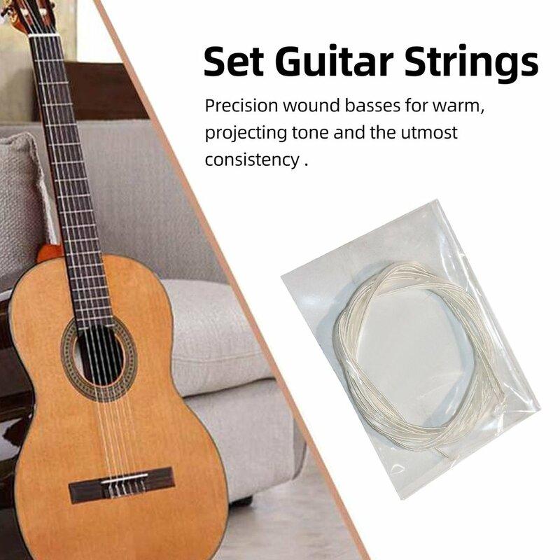 ใหม่ 6Pcsอะคูสติกกีตาร์Stringsไนล่อนสีเงินชุดสำหรับกีต้าร์คลาสสิคคลาสสิก 1M 1-6 E B G D A E Guitar Bass Part