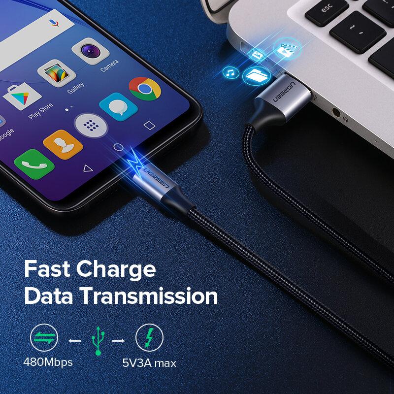 Ugreen cavo Micro USB 3A Nylon cavo di ricarica rapida USB tipo C per Samsung Xiaomi HTC cavo dati caricabatterie USB cavo cellulare