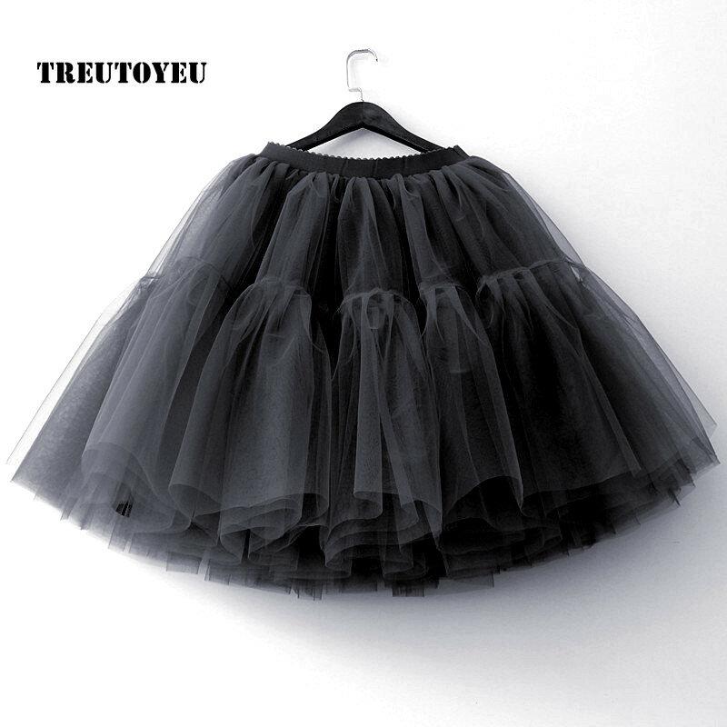 5 ชั้น 60 ซม.Tutu Tulle กระโปรง Midi กระโปรงจีบสตรี Lolita Petticoat เจ้าสาวงานแต่งงาน faldas Mujer saias jupe
