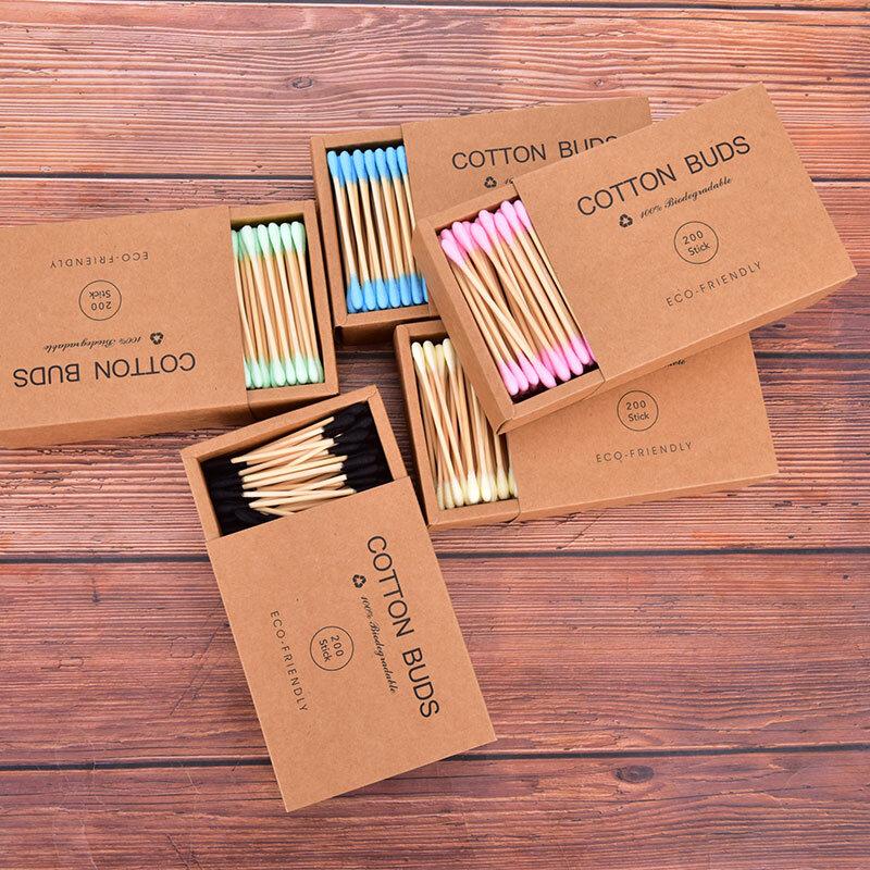 1000Pcs Doppel Kopf Farbe Mischen Bambus Baumwolle Erwachsene Make-Up Baumwolle Tupfer Holz Sticks