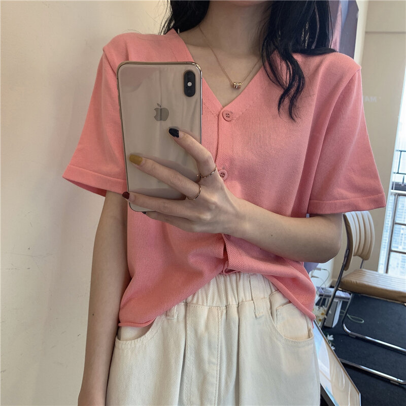 V-neck Knitted Short-Sleeved Knitted Cardigan 2021summer New Loose T-shirt Thin Ice Silk Short-Style Top for Women