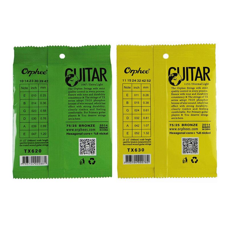 Orphee 1 SET Corde de Guitare ACOUSTIQUE âme Hexagonale + 8% nickel, Bronze tons Vifs et Extra lumière Lumière Supplémentaire Moyen