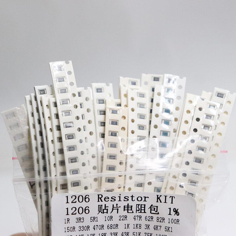 1206 SMD 저항기 키트 모듬 키트 1ohm-1M ohm 1% 33valuesX 20pcs = 660pcs 샘플 키트