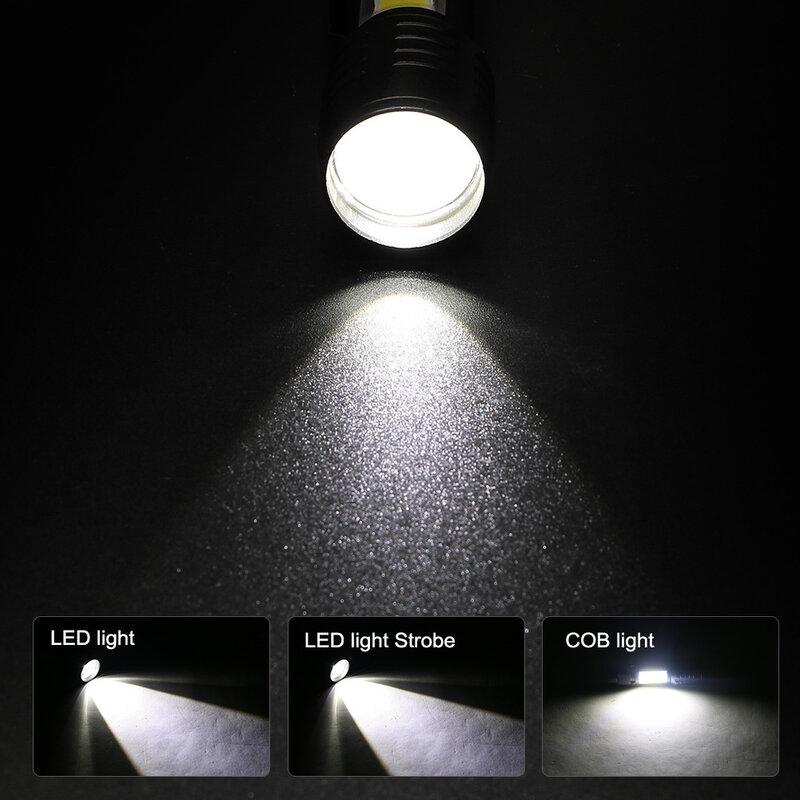 T6 LED tasche taschenlampe starke licht zoom 3 modi USB aufladbare aluminium legierung tragbare taschenlampe wasserdicht mit haken clip