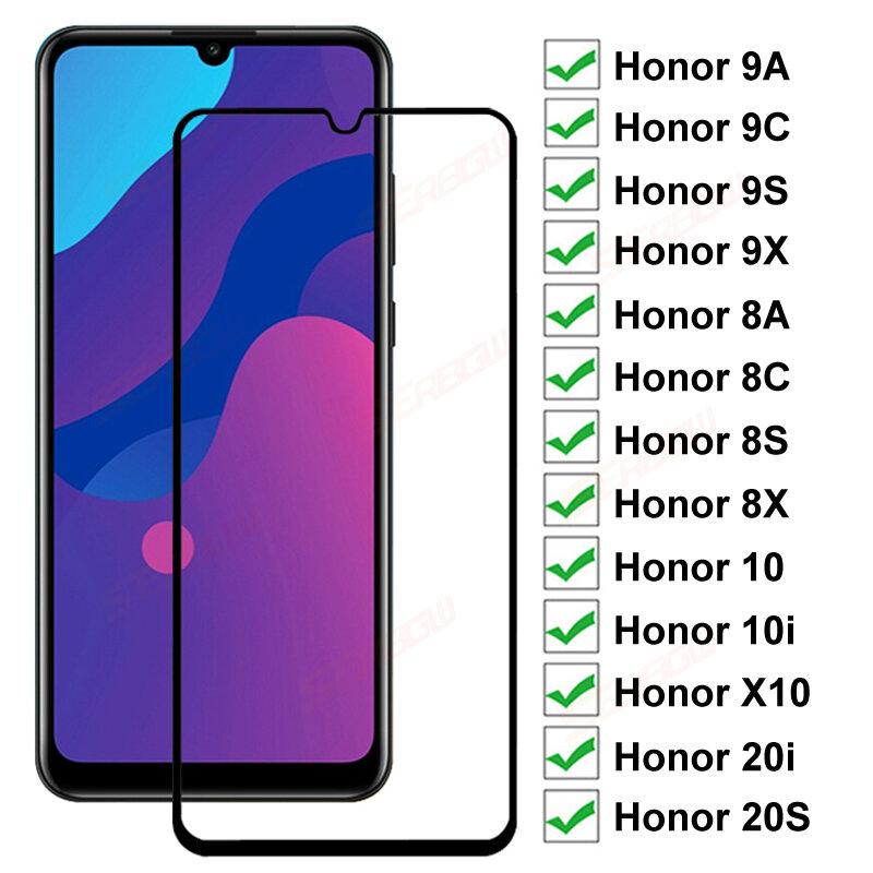 9D Full Tempered Glass For Huawei honor 9A 9C 9S 9X 8A 8C 8S 8X Screen Protector Honor 9i 10i 20i 20S Protective Glass Film Case