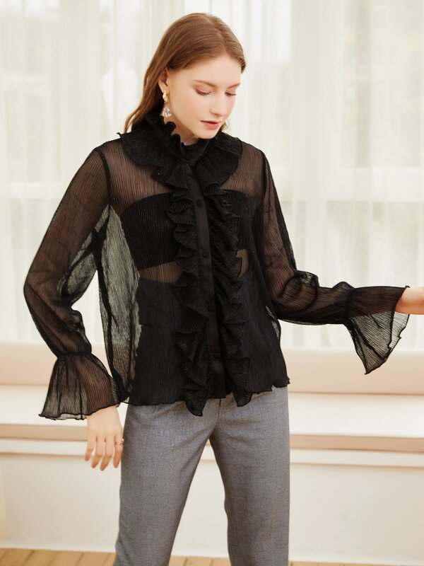 Yg Brand Women's Wear New Style Celebrity Model Solid Color Pleated Ruffle Women's Shirt Sexy Trumpet Sleeve Top