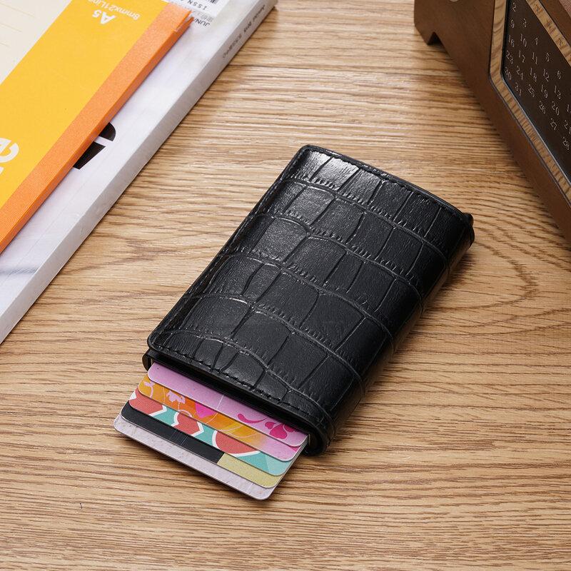 2021 악어 신용 카드 홀더, 남성용 다기능 자동 알루미늄 합금 가죽 카드 케이스, 여성용 미니 지갑, 슬림 지갑