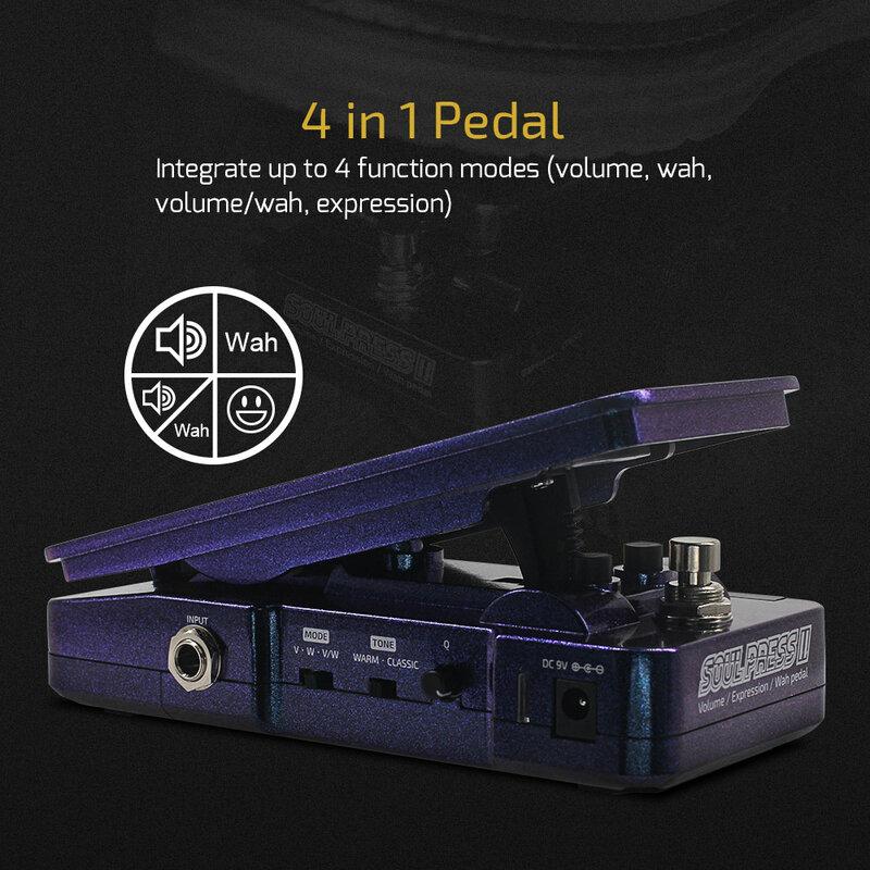 Hotone Soul Press II 4 in 1 commutabile Wah Volume attivo passivo Ex press pedale effetti ionici con indicatori di posizione del pedale visibili