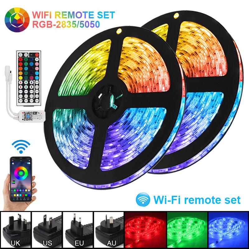 Tira de Luces LED con WiFi y Bluetooth, RGB5050, SMD2835, Flexible, resistente al agua, cinta de diodos DC12V, 5M10M15M, iluminación de Control remoto