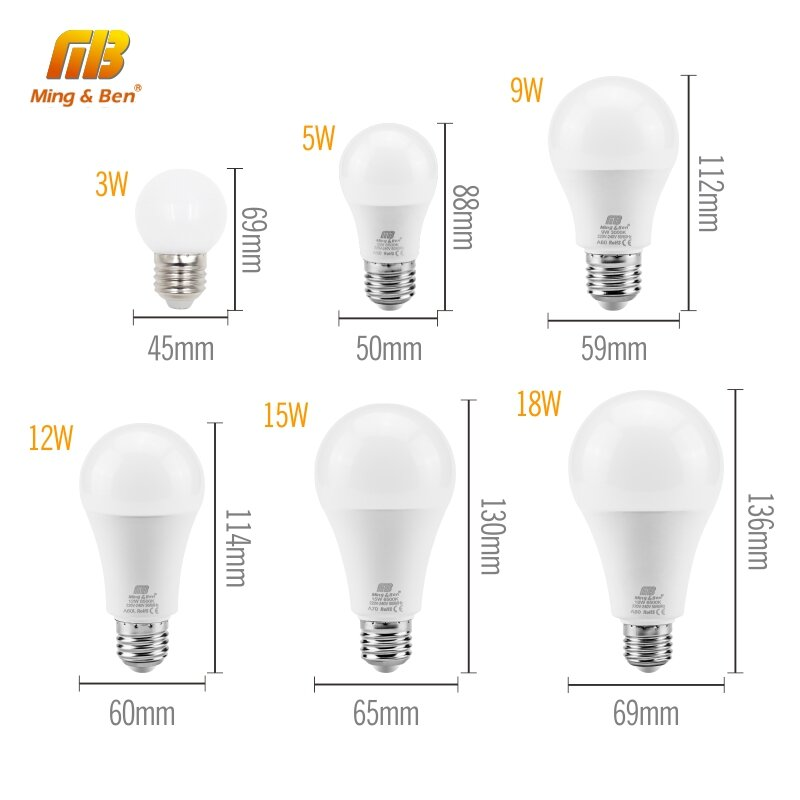 Kein Flackern Led-lampe Lampe E27 E14 220V Glühbirne Smart IC Real Power3W 5W 7W 9W 12W 15W 18W Hohe Helligkeit Lampada LED Bombilla