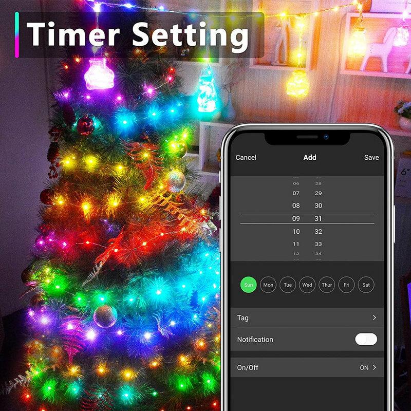 Tuya 스마트 Dreamcolor LED 요정 문자열 조명 10m 100LED RGB RGBIC 작동 Alexa 음악 동기화 USB 스트립 라이트 APP 원격 제어