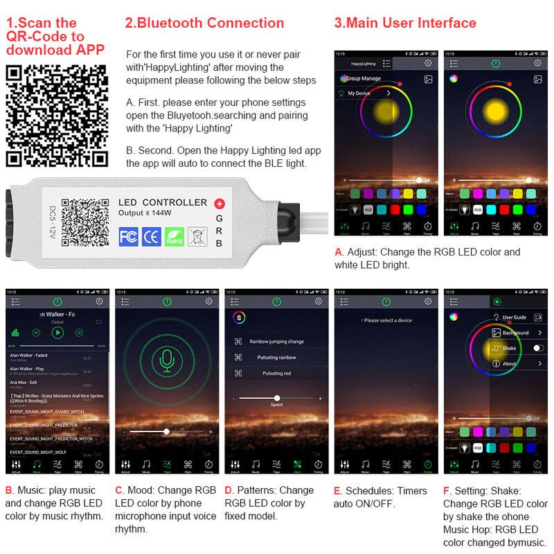 RiRi 원 SMD 5050 RGB LED 스트립 빛 2835 10M 5M LED 조명 rgb LED 테이프 다이오드 리본 유연한 블루투스 제어 DC12V 어댑터