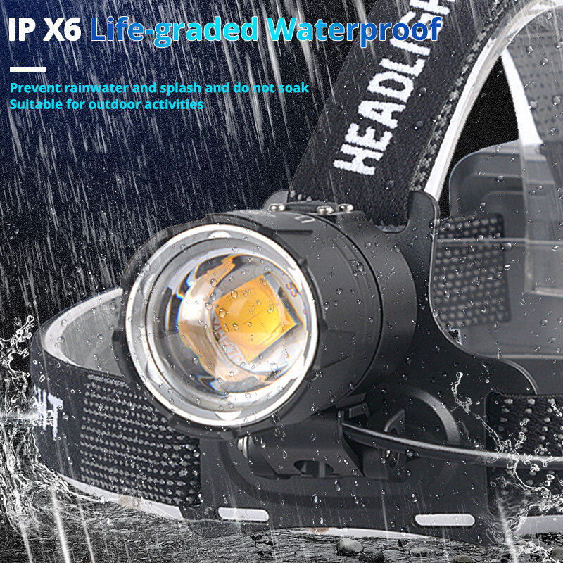 Xhp70.2 led 전조 등 xhp70 가장 강력한 노란색 흰색 led 헤드 라이트 낚시 캠핑 줌 토치 사용 3*18650 배터리