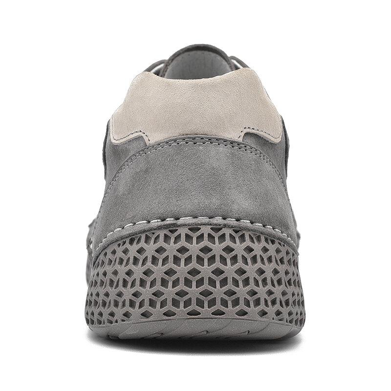 Mocasines informales de cuero hechos a mano para hombre, zapatos ligeros para conducir, para caminar, cómodos, de talla grande