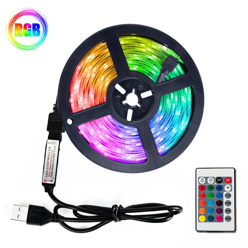 LED 빛 스트립 유연한 램프 1M 2M 3M 4M 5M SMD 2835 DC5V Led 리본 빛 적외선 제어 백라이트 USB 케이블 3 키 제어