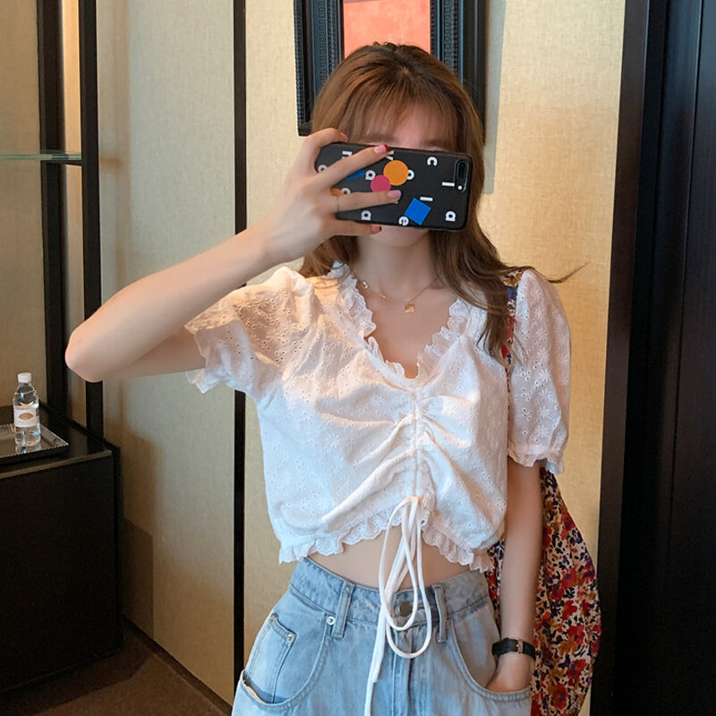 White Shirt Women's Design Drawstring Short Clothes Summer 2021 New French Style V-neck Puff Sleeve Shirt