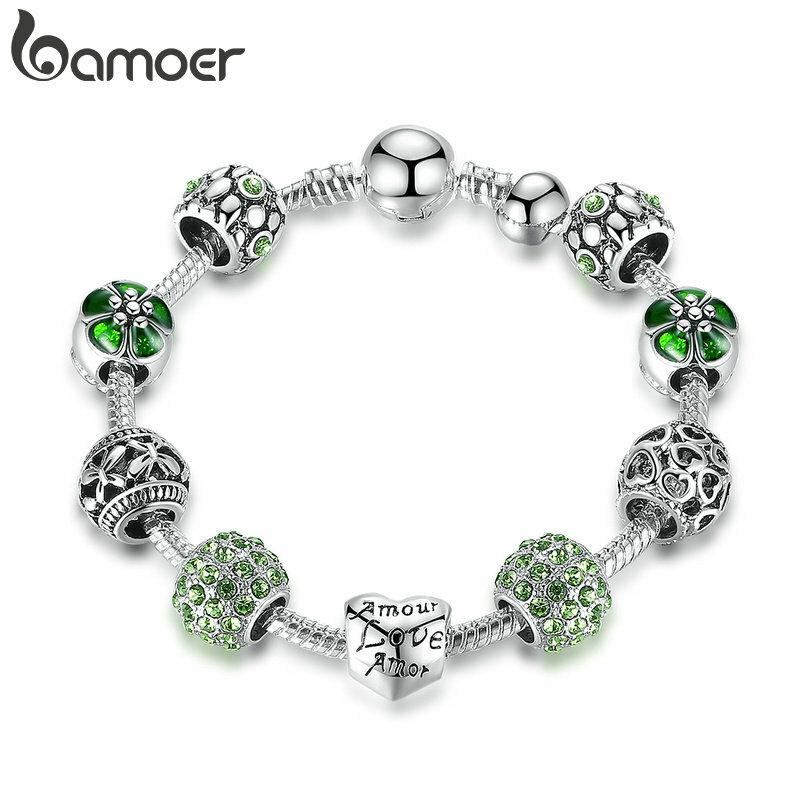 BAMOER-Pulsera y brazalete con abalorio bañado en plata para mujer, con cuentas de amor y flor para mujer, joyería de boda en 4 colores 18CM 20CM, 21CM PA1455