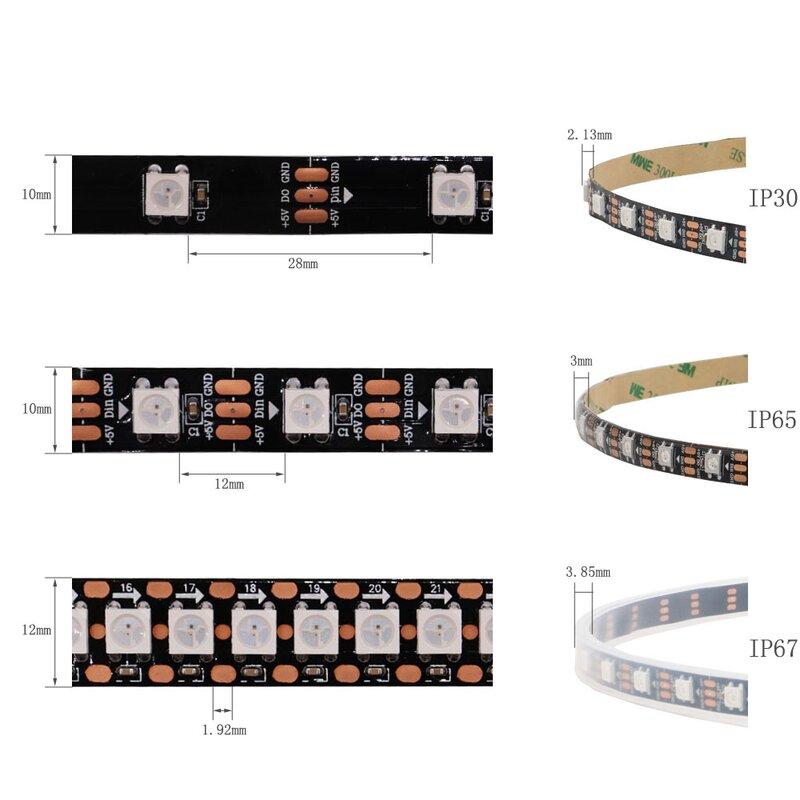 Tira de luces Led WS2812B, 5V, direccionable individualmente, RGB inteligente, WS2812 30/60/74/96/144 píxeles/m B/W, PCB, resistente al agua IP30/65/67