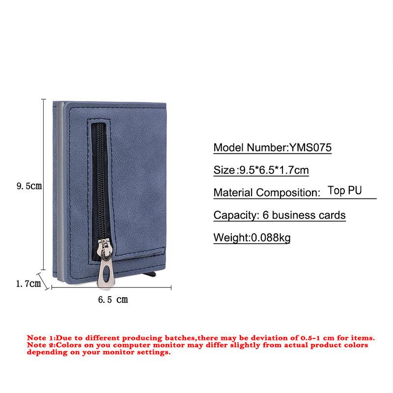 YAMBUTO-남성용 탑 PU 가죽 지퍼, 강력한 자력력 RFID 알루미늄 카드 홀더 대용량 은행 카드 패키지 지갑 가방