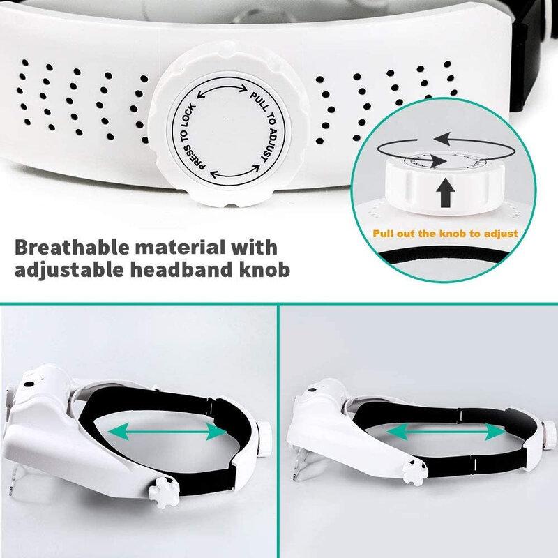 TKDMR USB Rechargeabl Kopf Montiert Fernglas Brillen Lupe Lupe mit 3LED Beleuchtet Stirnband Lupe Zum Lesen