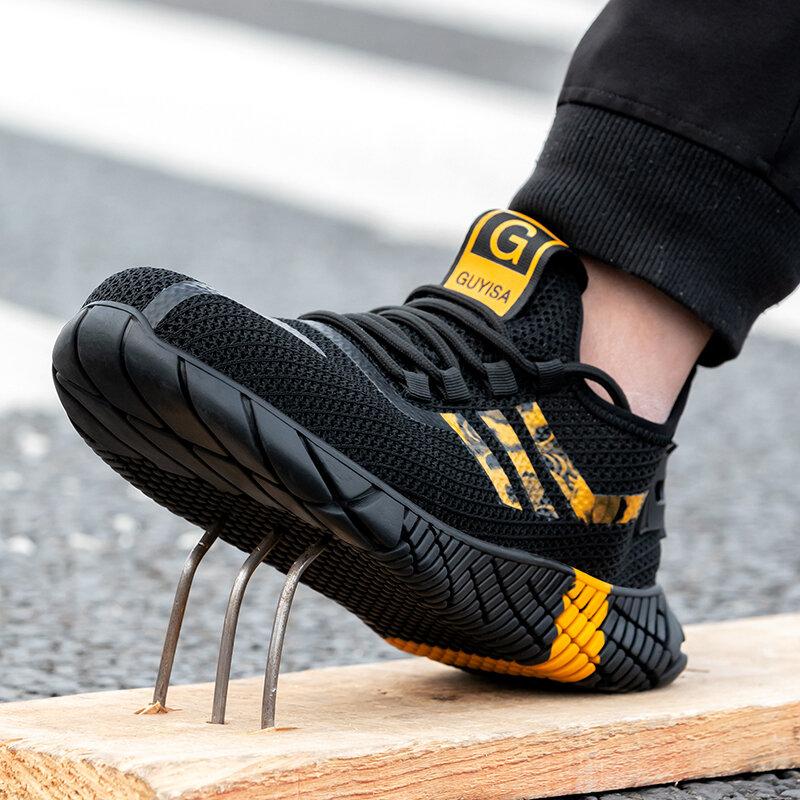 Chaussures de sécurité respirantes avec bout en acier pour homme, bottes de travail antidérapantes, indestructibles, baskets de travail anti-perforation, nouvelle collection 2020