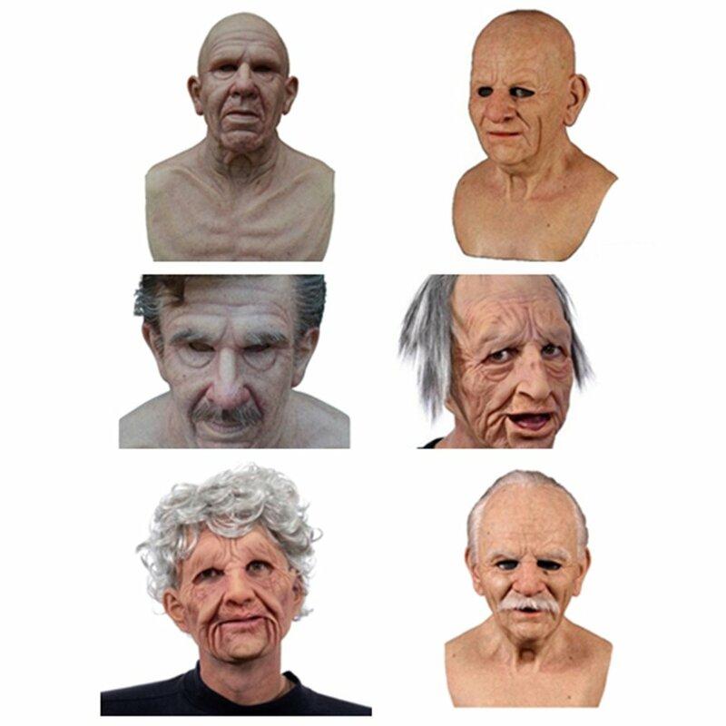 مخيف امرأة عجوز الباروكة قناع رجل يبلغ من العمر قناع هالوين مضحك رجل يبلغ من العمر الكبار قناع زاحف التجاعيد قناع الوجه اللاتكس تأثيري الدعا Bestdealplus