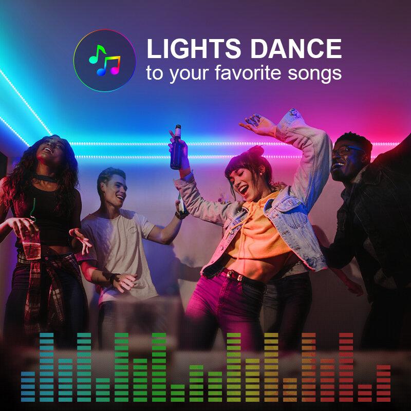 LED 조명 스트립, 알렉사 구글 홈, 와이파이 컨트롤러 5050 RGB LED 조명, 앱 및 원격 제어, 홈 장식용