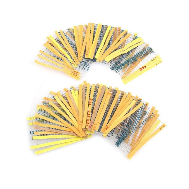 100PCS 1/4W 금속 필름 저항 1% 0.25W 전원 Resistor0.1 ~ 1M 2.2 4.7 10R 47 100 200 220 360 470 680 1K 2.2K 10K 47K 22K 100KOhm